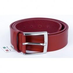 Červený italský kožený opasek. Šířka 38 mm, délka 120 cm