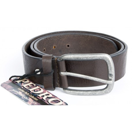 Hnědý kvalitní pevný kožený opasek s oblou přezkou 38 mm široký, 105 cm dlouhý