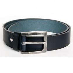 Velmi tmavě modrý, téměř černý kožený opasek. Šířka 39 mm, délka 125 cm
