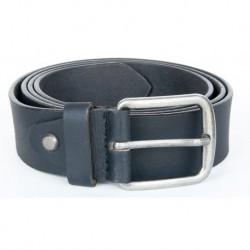 Černý kvalitní pevný kožený opasek 40 mm široký, 115 cm dlouhý