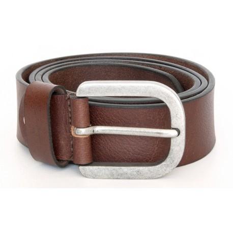 Hnědý kožený opasek z pevné silné pravé kůže 39 mm široký. Pro obvod pasu 90 cm.