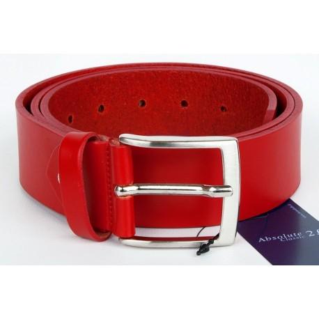 Červený italský kožený opasek. Šířka 40 mm, délka 110 cm