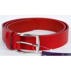 Červený italský kožený opasek. Šířka 35 mm, délka 115 cm