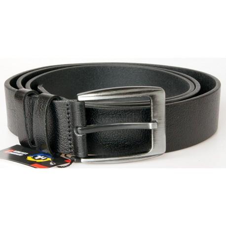 Pánský černý kožený opasek šířka 37 mm, délka 125 cm