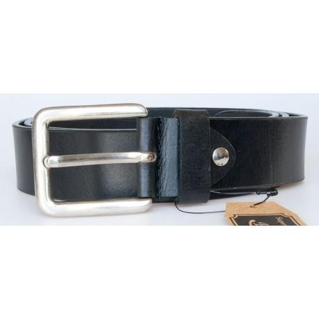 Černý hladký kožený opasek šířka 39 mm, délka 125 cm
