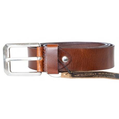 Hnědý hladký pevný kožený opasek šířka 38 mm, délka 105 cm