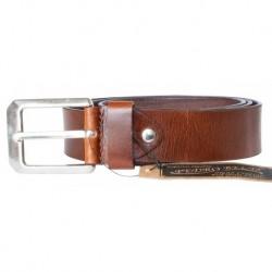 Hnědý hladký pevný kožený opasek šířka 38 mm, délka 135 cm