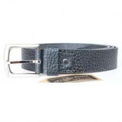 Černý silný pevný kožený opasek se strukturovaným povrchem šířka 39 mm, délka 135 cm