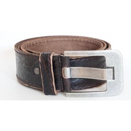 Hnědý kvalitní pevný kožený opasek 50 mm široký, 105 cm dlouhý