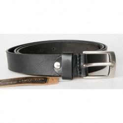 Pánský černý kožený opasek šířka 30 mm, 135 cm dlouhý