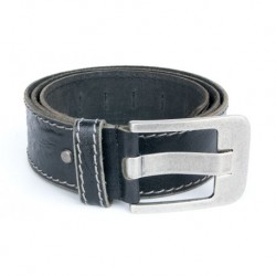 Černý kvalitní pevný kožený opasek 50 mm široký, 125 cm dlouhý